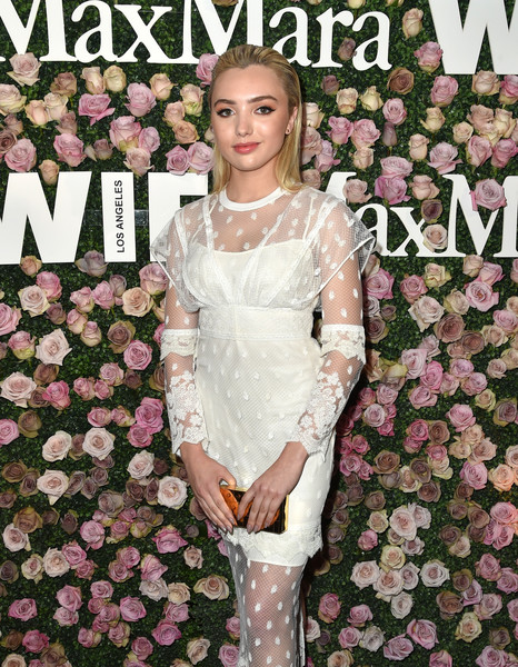 Peyton List Metallic Clutch [max mara celebrates zoey deutch,the 2017 women in film max mara face of the future,peyton list,clothing,dress,pink,gown,event,haute couture,plant,wedding dress,long hair,petal,chateau marmont,california,los angeles]