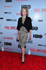 Christine Baranski opted for a leopard print dress for her red carpet look at the 'Phil Spector' premiere in NYC.