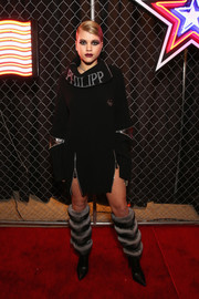 Sofia Richie looked punky in a multi-zip sweater dress by Philipp Plein during the brand's fashion show.