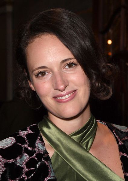 Phoebe Waller-Bridge Curled Out Bob [hair,face,hairstyle,eyebrow,lip,beauty,chin,smile,brown hair,black hair,red carpet arrivals,hamilton,phoebe waller-bridge,england,london,victoria palace theatre,opening night]