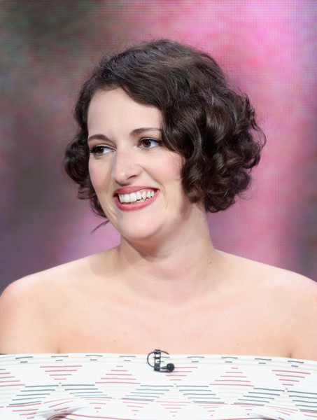 Phoebe Waller-Bridge Curled Out Bob [hair,face,hairstyle,eyebrow,skin,chin,beauty,lady,lip,forehead,phoebe waller-bridge,creator,portion,fleabag,the beverly hilton hotel,beverly hills,california,amazon,summer tca,panel discussion]