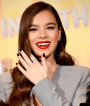 Hailee Steinfeld's dark nail polish added a touch of goth to her look during the 'Spider-Man: Into the Spider-Verse' photocall.