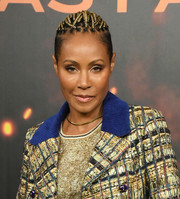 Jada Pinkett Smith was a rockstar with her gilded cornrows at the photocall for 'Angel Has Fallen.'