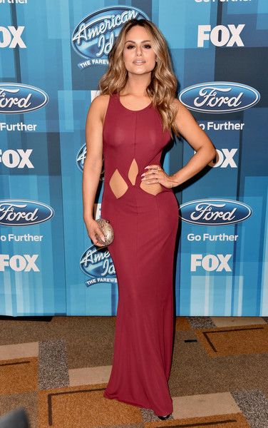 Pia Toscano Cutout Dress [american idol finale for the farewell season,american idol finale for the farewell season,blue,electric blue,flooring,shoulder,carpet,beauty,red carpet,joint,fashion,dress,arrivals,pia toscano,california,hollywood,dolby theatre,fox]