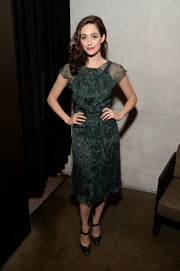Emmy Rossum chose a pair of black Ralph Lauren Mary Jane pumps to pull her look together.