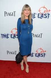 Catherine Hardwicke chose a long-sleeve electric blue dress for her look on the red carpet.