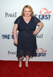 Danielle Macdonald rocked a ruffled navy and white polka-dotted dress at the premiere of 'The East.'