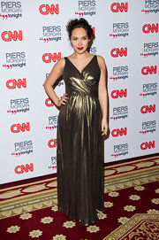 Myleene goes bronze in a floor length evening gown at the CNN Launch Party.