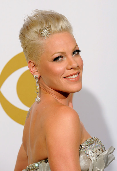 Singer Pink poses in the press room during the 52nd Annual GRAMMY Awards