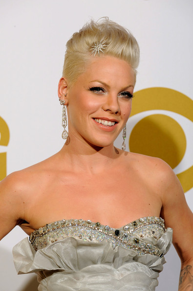 Pink Dangling Diamond Earrings [hair,white,hairstyle,dress,blond,beauty,chignon,fashion,shoulder,gown,singer pink,52nd annual grammy awards,room,press room,california,los angeles,staples center]