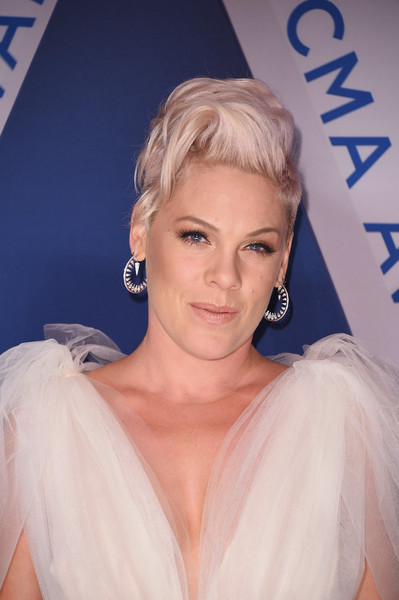 Pink Mohawk [hair,beauty,blond,human hair color,hairstyle,eyebrow,lady,chin,shoulder,long hair,arrivals,pink,cma awards,nashville,tennessee,bridgestone arena]