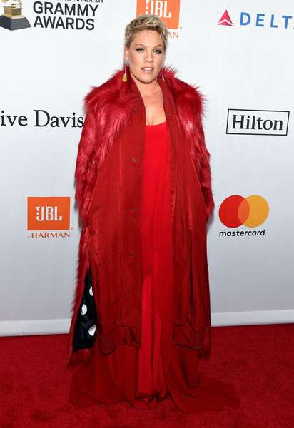 Pink Fur Coat [salute to industry icons,clothing,carpet,red,red carpet,outerwear,flooring,long hair,premiere,fashion design,costume,jay-z,pink,arrivals,clive davis,grammy,grammy salute to industry icons,recording academy pre-grammy gala,new york city]