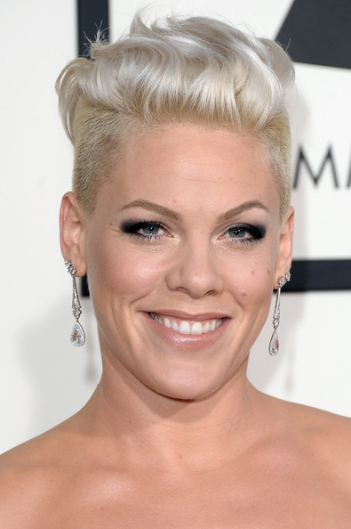 Pink Fauxhawk [hair,face,hairstyle,eyebrow,blond,chin,lip,forehead,eyelash,beauty,56th grammy awards,singer pink,staples center,los angeles,california,arrivals]
