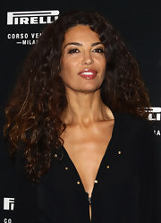 Afef Jnifen's full lips were extra juicy with her glossy berry lipstick at the 'Pirelli Corso Venezia' store opening.