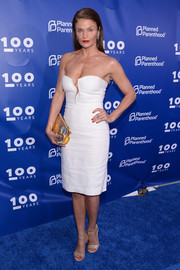 Helena Christensen flashed some cleavage at the Planned Parenthood 100th anniversary gala in a strapless LWD with a slashed front.