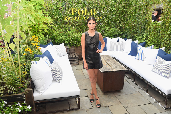 Selena Gomez was equal parts edgy and cute in a black Tamara Mellon leather romper during the Polo Ralph Lauren fashion show.