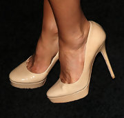 Sofia Milos wore a pair of stylish nude platform pumps to the Porsche Design 40th Anniversary event in LA.