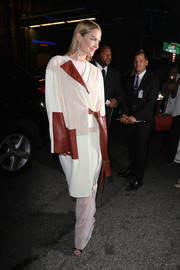 Jaime King attended the Lexus Design Disrupted event wearing a mixed-material coat by Prabal Gurung.