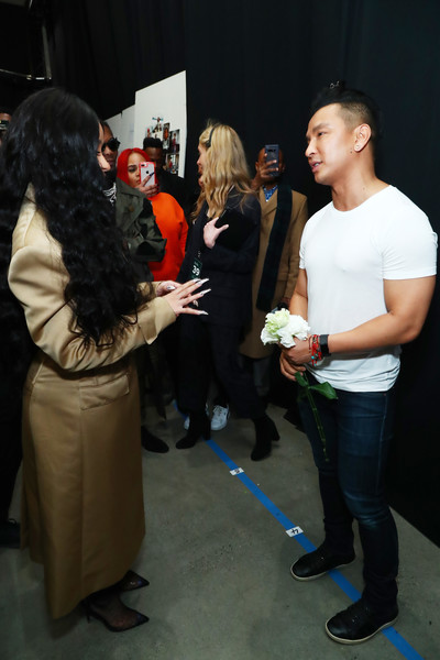 More Pics of Cardi B Trenchcoat (1 of 14) - Outerwear Lookbook - StyleBistro [shows,the shows,event,youth,fashion,design,fun,art,costume,performance,party,t-shirt,prabal gurung,recording artist,gallery i,prabal gurung - backstage,new york city,cardi b,spring studios,new york fashion week]