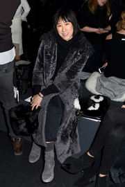 Eva Chen sat front row at the Prabal Gurung fashion show wearing a chic black fur coat.