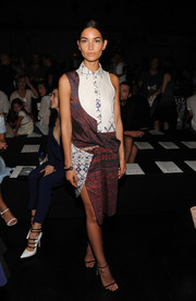 Lily Aldridge opted for an ultra-modern mixed-print shirtdress by Prabal Gurung when she attended the label's fashion show.