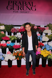 Prabal Gurung played it cool at the launch of his line for Target. The designer chose classic jeans for the event.