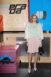 Chiara Ferragni accessorized her look with a studded black bag.