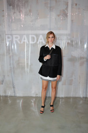 Chiara Ferragni styled her outfit with strappy black heels.