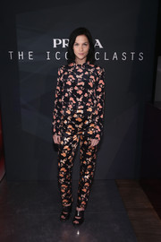 Leigh Lezark went the conservative route in a long-sleeve print blouse during the Prada Iconoclasts event.