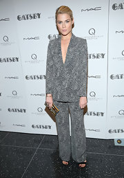 Rachael Taylor matched from head to toe when she wore this spackled blouse and pants.