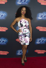 Monique Coleman looked foxy in a printed halter dress while attending the premiere of 'Adventures in Babysitting.'