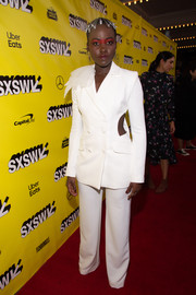 Lupita Nyong'o went ultra modern in a white cutout pantsuit by Honayda at the SXSW premiere of 'Us.'