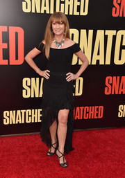 Jane Seymour attended the premiere of 'Snatched' wearing a black off-the-shoulder dress with a high-low ruffle hem.