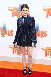 Anna Kendrick looked disco-ready in a starburst-beaded velvet mini by Marc Jacobs at the premiere of 'Trolls.'