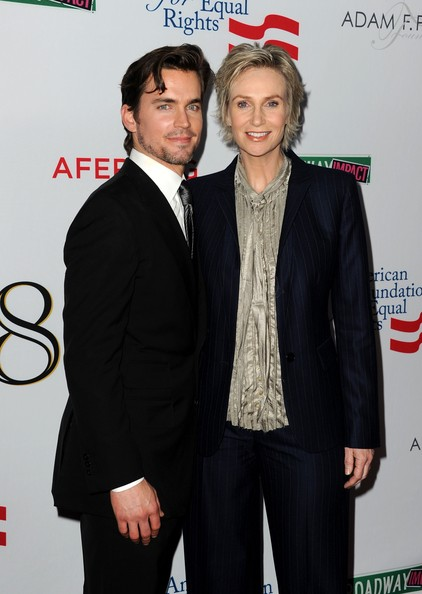 More Pics of Jane Lynch Layered Razor Cut (1 of 5) - Jane Lynch Lookbook - StyleBistro [suit,premiere,event,carpet,formal wear,tuxedo,white-collar worker,flooring,actors,matt bomer,jane lynch,wilshire ebell theatre - arrivals,the wilshire ebell theatre,los angeles,l,the american foundation for equal rights broadway impact,premiere,premiere]