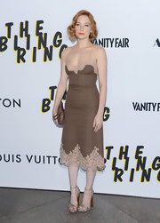 Haley Bennett chose a brown tweed dress with nude lace trim for a soft and romantic look at the premiere of 'The Bling Ring.'