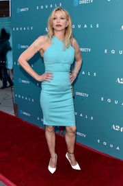 Courtney Love cleaned up well in a fitted sky-blue frock by Roland Mouret for the premiere of 'Equals.'