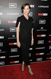 Embeth Davidtz wore this lovely draped LBD with strappy heels to the 'Mad Men' season premiere.