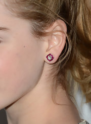 Kiernan Shipka chose a simple pair of diamond and ruby studs to add a bit of color to her red carpet look at the 'Mad Men' Season 6 screening.