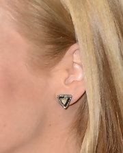 Jennifer Westfeldt accessorized with simple yet chic triangle diamond studs at the 'Mad Men' premiere.
