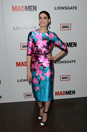 Jessica Pare chose a bright floral frock for her tropical-inspired red carpet look.