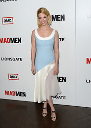 January Jones chose a bright and summery, crepe silk and chiffon dress for the screening of Season 6 of 'Mad Men.'