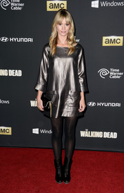 Cameron Richardson shimmered all the way down to her black mid-calf boots at the premiere of 'The Walking Dead' season 4.
