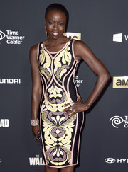 Danai Gurira looked chic and sexy in a figure-hugging print dress during the 'Walking Dead' season 4 premiere.