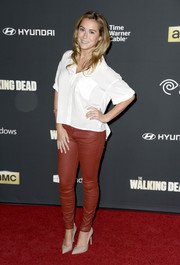 Alexa Vega went for a casual-edgy look with a pair of red leather skinnies and a white button-down during the 'Walking Dead' season 4 premiere.