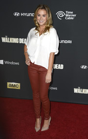 Alexa Vega kept it casual yet stylish in a cropped white button-down and leather skinnies at the 'Walking Dead' season 4 premiere.