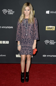 Ashley Tisdale went for a boho vibe with this printed shift dress during the premiere of 'The Walking Dead' season 4.