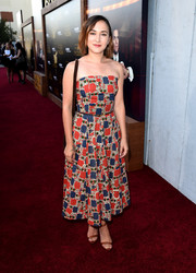 Zelda Williams was summer-chic in a graphic-print strapless dress at the premiere of 'The Last Tycoon.'