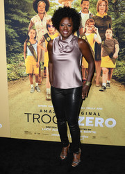 Viola Davis finished off her outfit with strappy silver sandals.