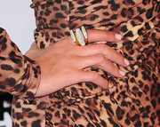 Nicky Hilton attended Bravo's series party for 'The Real Housewives of Beverly Hills' while wearing two sterling silver and 18-karat gold flat top pave rings paired with a sterling silver dome pave ring from her new collection.